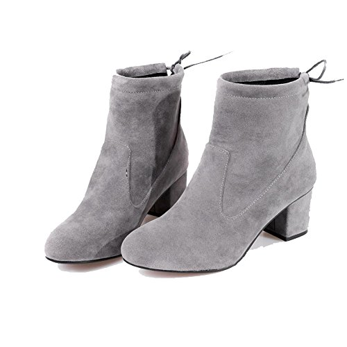 AllhqFashion Womens Lace-Up Round Closed Toe Kitten-Heels Imitated Suede Low-Top Boots, Gray, 40
