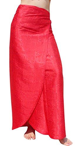Raan Pah Muang Brand Thick Geometric Stamped Thai Soft Silk Formal Wrap Skirt, X-Large, Red - Geometric Silk Skirt