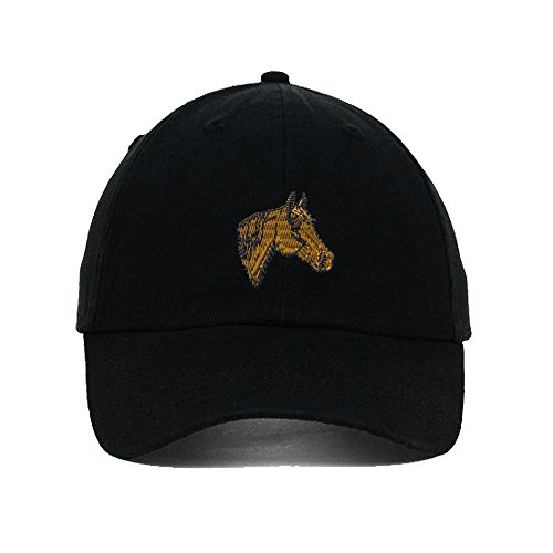 Quarter Horse Head Embroidered SOFT Unstructured Adjustable Hat Cap Black