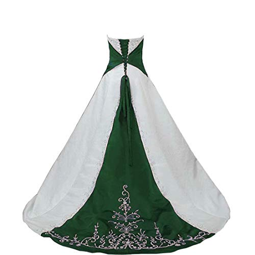DingDingMail Strapless Satin Embroidery Dark Green and White Wedding Dress Lace Up with Sweep Train Bridal Wedding Gowns