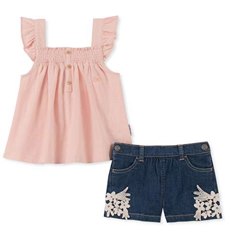 Calvin Klein Girls' Toddler 2 Pieces Shorts Set, Pink/Dark Denim, 4T ()