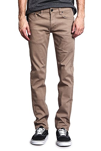Victorious Men's Skinny Fit Color Stretch Jeans DL937 - Taupe - 34/30