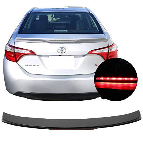 Trunk Spoiler Fits 2014-2017 Toyota Corolla | Factory Style Unpainted Black ABS W/LED 3rd Brake Light By IKON MOTORSPORTS | 2015 2016