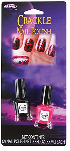 Fun World Red & Black Crackle Crackling Shatter Nail Polish Gothic Goth Vampire Punk]()