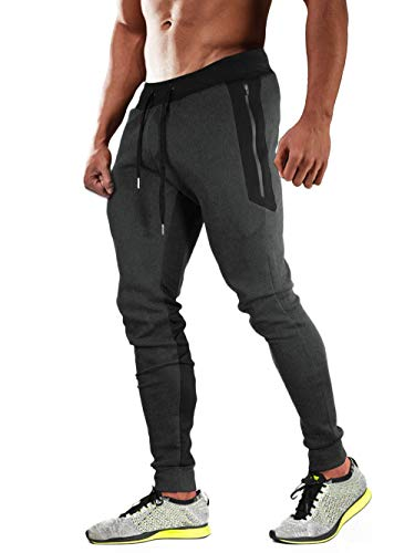 Bnokifin Men's Cotton Gym Joggers Workout Running Pants Slim Fit Mesh Sweatpants with 3 Zipper Pockets