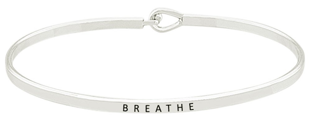 ''BREATHE'' Inspirational Quote Mantra Phrase Engraved Thin Bangle Hook Bracelet - Positive Message Jewelry Gifts for Women & Teen Girls (Silver Tone)