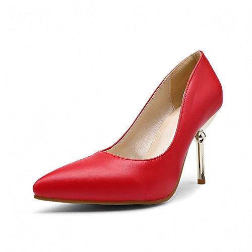 CN39 Chaussures Talons amp pour de Rouge UK6 Printemps Bureau PU à Chaussures nbsp; Mode Similicuir Décontracté US8 Automne Combat Talon Chaussures Pois EU39 Bottes de amp; Femmes DIMAOL pqT1dnwAA