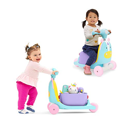 41dWPQtNpPL - Skip Hop Kids 3-in-1 Ride On Scooter and Wagon Toy, Unicorn