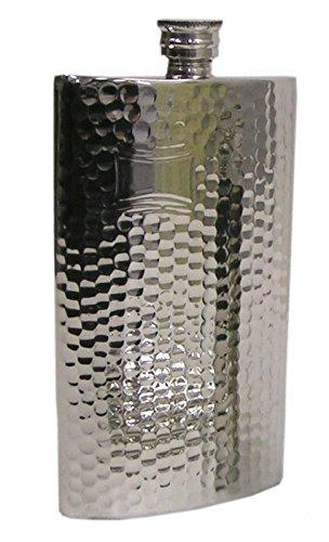 Pewter製フラスコ ウィスキーボトル 【SP004】 ハンマード 8oz ジョウゴ付   B01KDZOQJ2