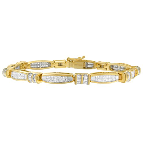 14K Yellow Gold Princess and Baguette Cut Diamond Beaded Bracelet (3.00 cttw, H-I Color, SI1-SI2 Clarity)