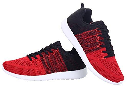 WELMEE Herren stricken Breathable beiläufige Turnschuhe leichte athletische Tennis Walking Laufschuhe rot