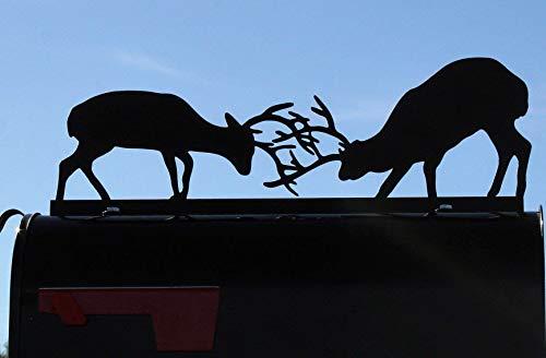 Deer Fighting Metal Mailbox Topper