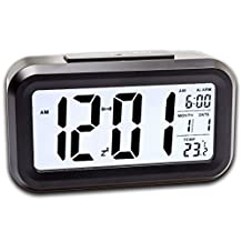 LANIAKEA Bedside Digital Alarm Clock, Large LCD Display, Thermometer, Smart Night Light, 5min Snooze, Date, 12/24 Hour, Back Light with Dimmer, LED Alarm Clock with USB Charging ( Black )