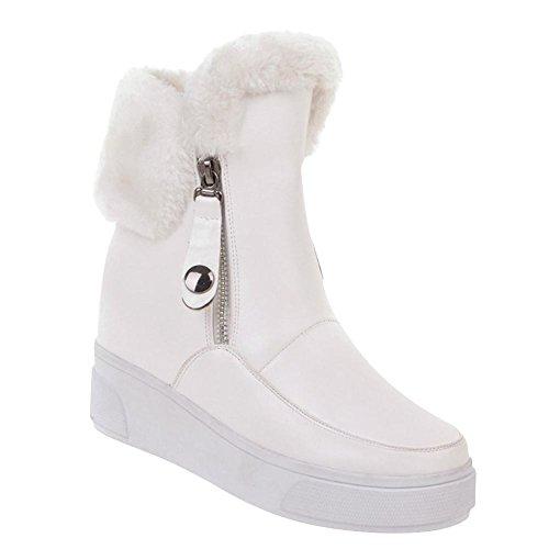 Mee Shoes Damen hidden heels warm gefüttert kurzschaft Stiefel Weiß