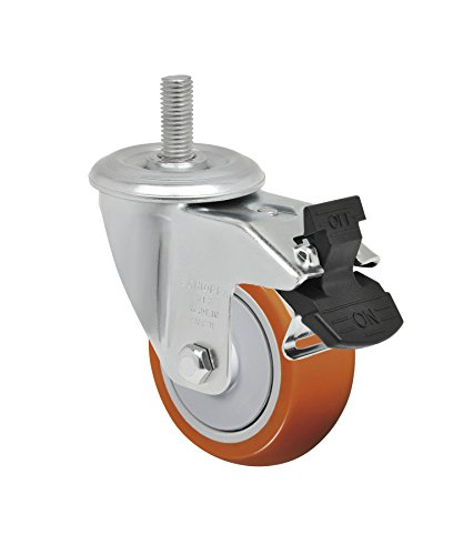 Schioppa-L12-Series-GLEEF-312-UPE-G-3-x-1-14-Swivel-Caster-with-Total-Lock-Brake-Non-Marking-Polyurethane-Precision-Ball-Bearing-Wheel-175-lbs-38-Diameter-x-1-12-Length-Threaded-Stem