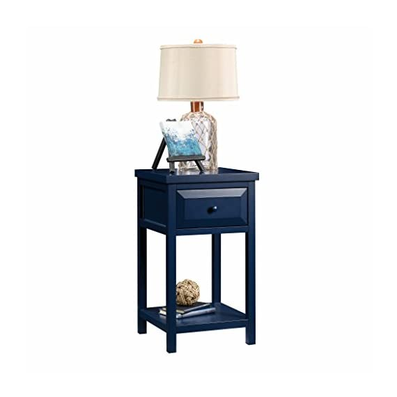 Sauder Cottage Road Side Table, Indigo Blue finish - Drawer features metal runners and safety stops Open shelf for additional storage Indigo Blue finish - nightstands, bedroom-furniture, bedroom - 41dWQSdhYiL. SS570  -