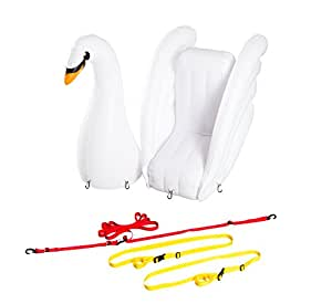 Inflatable Toy Swan that mounts to any SUP paddle board, white, large, includes Universal Harness, by Stand Up Floats