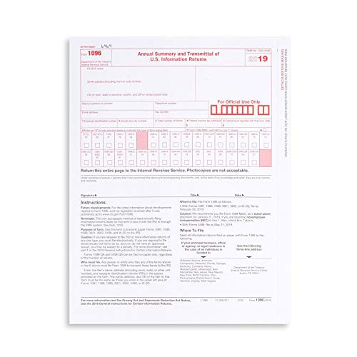 1096 Transmittal 2019 Tax Forms, 25 Pack of 1096 Summary Laser Forms Designed for QuickBooks and Accounting Software (1096 Forms Laser)