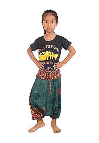 Lofbaz Kids Harem Rose Flower Child Aladdin Pants Boho Hippy Teal Green Size 0/3Y