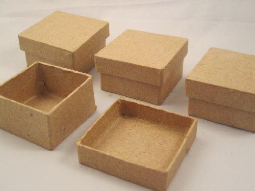 Darice Paper Mache Decoupage Mini Trinket Box w/Lid SQUARE (1pk-4pcs)