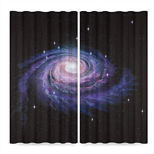 - YOLIYANA Galaxy Windows Blackout Curtain,Celestial Dust Votex Spiral Galaxy Nebula Fantasy Spark Plasma Stars Planet Print,Living Room Bedroom Décor, 2 Panel Set,37W X 51L Inches