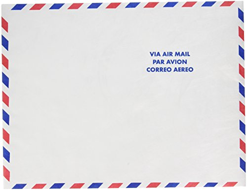 Quality Park R1600 Quality Park Tyvek Airmail Envelopes, 10x13, White w/Red & Blue Border, (Red White Blue Border)