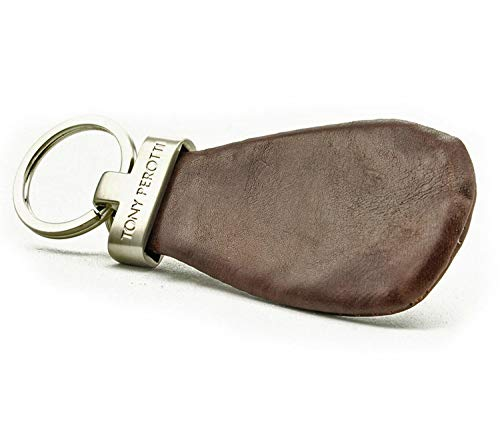 Italian Leather Coin Case Keychain Double Ring Key Holder with Zippered Pouch