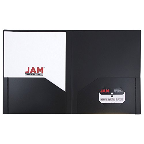 JAM Paper Heavy Duty Plastic 2 Pocket Presentation Folders - Black - 6/pack