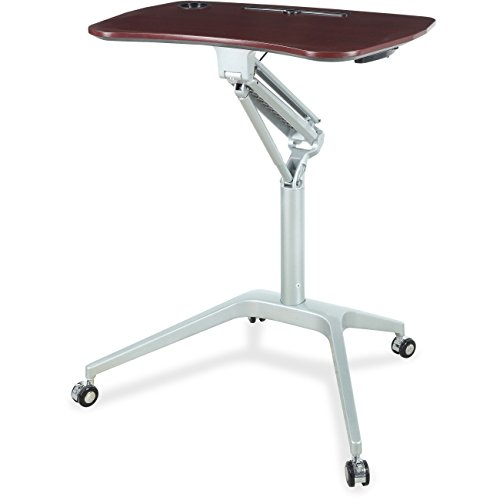 Lorell 84839 Height Adj Mobile Desk, 28-1/4''x18-3/4''x41'', Black/Mahogany by Lorell