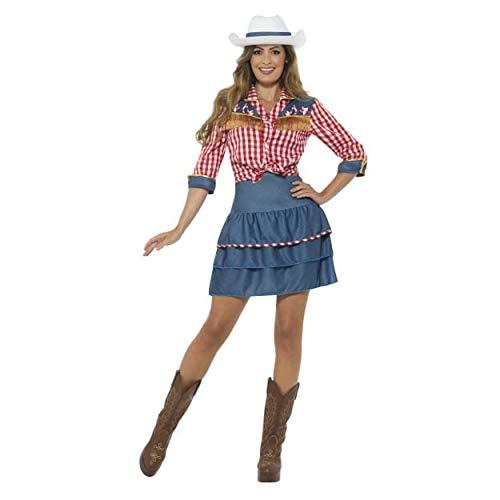 Smiffys Women's Rodeo Doll Costume, Blue, Medium -