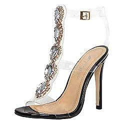 Gladiator Transparent Strip Sandals with Rhinestones