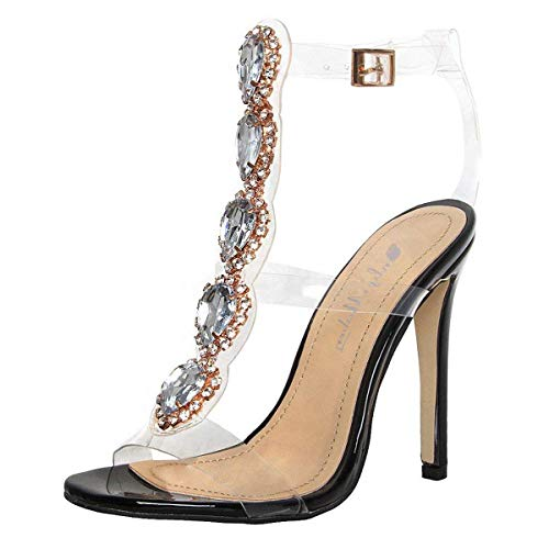 onlymaker Ankle Strap Gem Clear Stiletto High Heels Gladiator Transparent Strip Sandals with Rhinestones Black 5 M US (Shoe Heel Casual Sexy High)