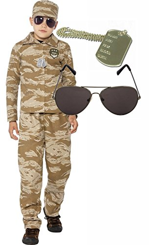 [Desert Army Boy Soldier Kids Fancy Dress Costume Outfit Shades Dog Tag Age 10-12] (Army Dog Costumes)