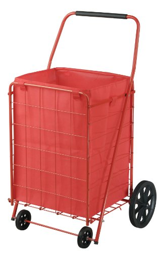 Edsal Wire Shopping Cart,40inH,24inW,110lb,Red