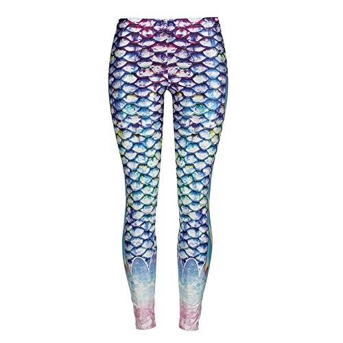 Connoworld Fashion Shiny Fish Scale Fin Printing Women Fitness Stretch Mermaid Tight Leggings 1# S