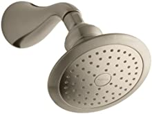 KOHLER 16166-AK-BV Revival 2.5 GPM Single-Function Wall-Mount Showerhead with Katalyst Spray, Vibrant Brushed Bronze