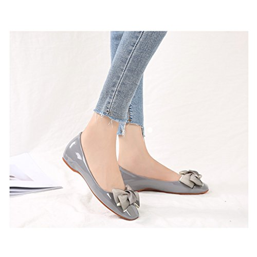 Square Women's Increased Toe Bowknot Patent August Grey Decoration Within Shoes Leather Flats Jim zEHqq5w