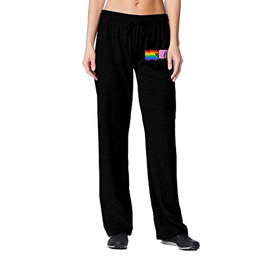 BakeOnion Women's Nyan Cat Rainbow Png Yoga Workout Pants M Black