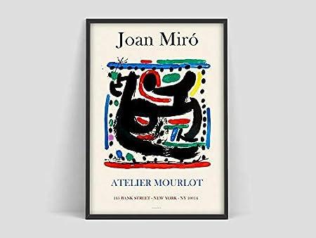 Póster de Joan Miro, impresión de Mourlot Paris, póster de Joan Miro, impresión de Joan Miro, lienzo decorativo sin marco familiar Q-81 40x50cm
