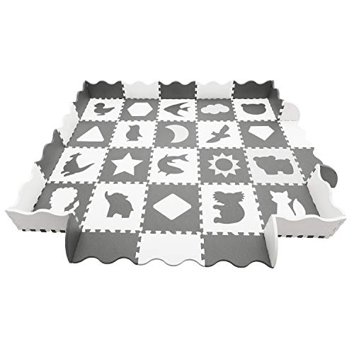 HAN-MM Baby Play Mat Foam Puzzle Mat 20pcs with Fence Interlocking Thick 0.56 Foam Floor Tiles for Kids Toddlers Babies Playrooms Nursery Tummy Time and Crawling Grey White