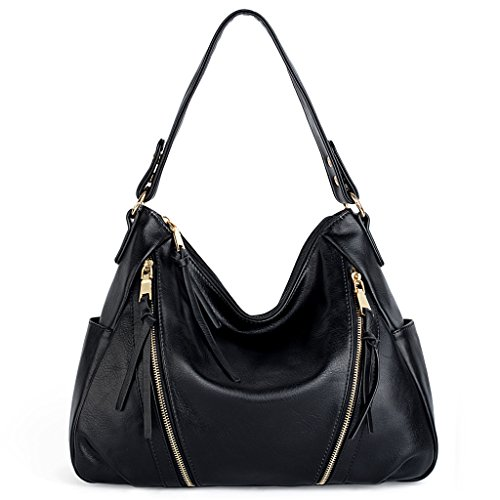 UTO Women Handbag PU Leather Purse Double Zipper Hobo Style 3 Ways Shoulder Bag 2 Black