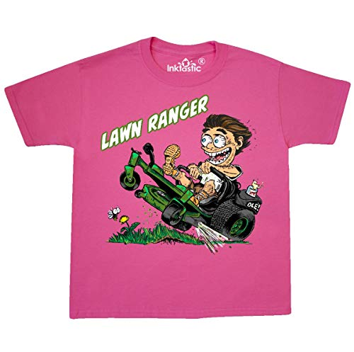 (inktastic - Hot Roddin' Rod Youth T-Shirt Youth Medium (10-12) Neon Pink 36039)