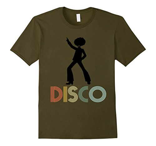 [Mens Retro Disco Dancing Shirt Gift for 70s Disco Dancer Medium Olive] (70s Outfits Men)