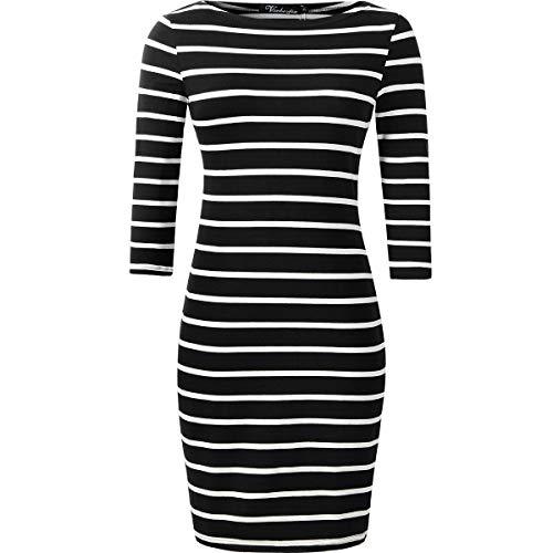 vanberfia Women's Striped Tunic Dress Casual 3/4 Sleeve T-Shirt Dress (2666, M) ()