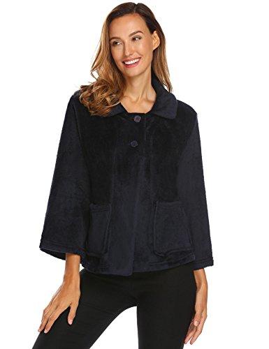 Dickin Women 3/4 Sleeve Pajamas Top Peter Pan-Collar Jacket Fleece Housecoat Button Up Lounge (Pan Collar Peter Jacket)