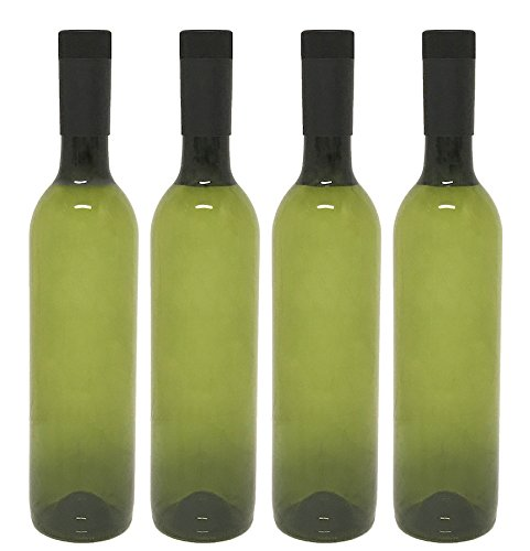 Plastic Wine Bottles & Screw Caps, Green, 750ml - Pack of 4 -