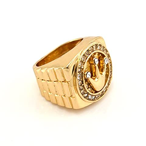 Hip-Hop Gold Tone King Crown Ring size 11 (Iced Out Brass Knuckles)