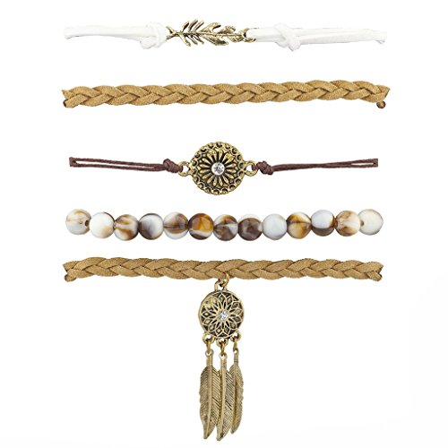 Lux Accessories Boho Casted Feather Dreamcatcher Marble Stone Arm Candy Set 5PC from Lux Accessories