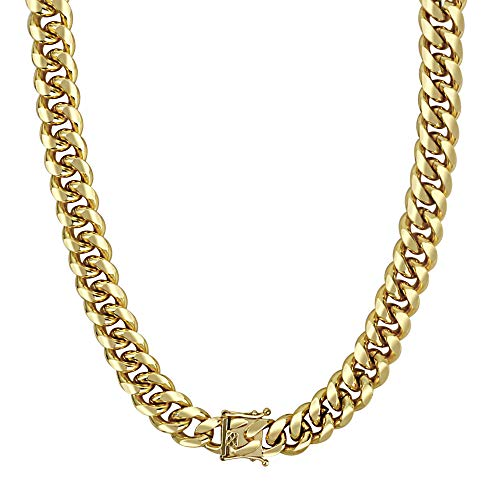 QueenDream Miami Cuban Chain Link Mens Thick Tight Link Yellow Gold Finish Necklace and Bracelet Set Heavy Gold Plated 14mm ()