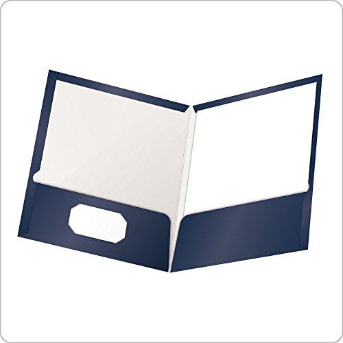 Oxford Showfolio Laminated Twin Pocket Folders, Letter Size, Navy, 25 Per Box (51743)